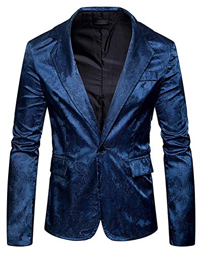 Uomo Giacche Business In Scintillanti A Modello Navy Paisley Lunghe Casual Jacquard Risvolti Eleganti Essenziale Blazer Con Maniche Da 5waqBxC8x