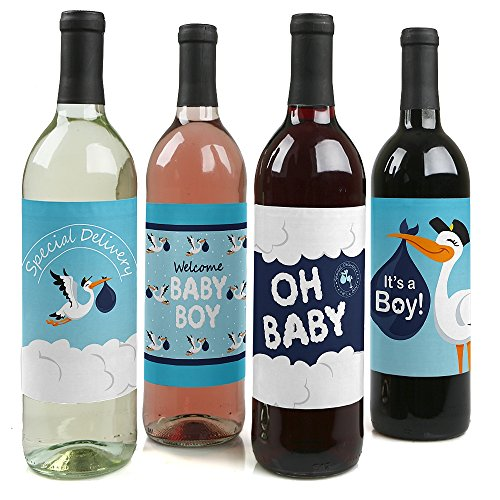 Boy Special Delivery - Blue It's A Boy Stork Baby Shower Decorations for Women and Men - Wine Bottle Label Stickers - Set of 4