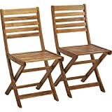 Wooden Patio Chairs 2-Pc. Folding Acacia Wood Chair Set — Natural