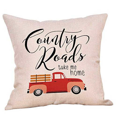 Softxpp Rustic Sign Country Road Take me Home Vintage Red Truck Throw Pillow Cover Farmhouse Decor Country Quote Cushion Case Decorative for Sofa Couch 18