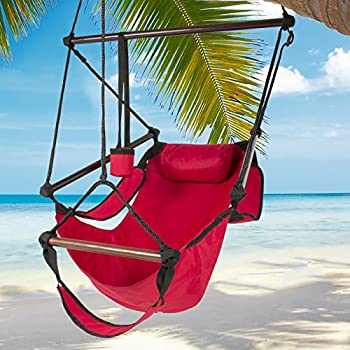 Best Choice Products Hammock Hanging Chair Air Deluxe Outdoor Chair Solid Wood 250lb Red