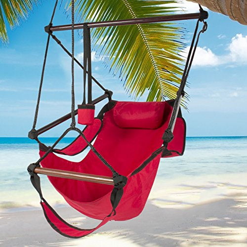 Best Choice Products Hammock Hanging Chair Air Deluxe Outdoor Chair Solid Wood 250lb Red by Best Choice Products