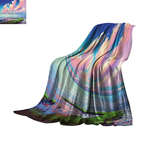 Cozy Flannel Blanket Lakehouse Decor Collection,Oil Painting View Sea after Mossy Rock Path under Colorful Sky with Clouds in Sunset Picture,Green Cream Blue Lightweight Thermal Blankets 50