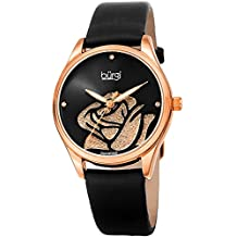 Burgi Women's BUR189RGBK Rose Cut-Out Dial with Glitter Powder Black Satin Over Leather Strap Watch