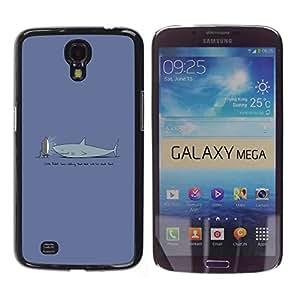 KLONGSHOP // Cubierta de piel con cierre a presión Shell trasero duro de goma Protección Caso - TV Divertido Tiburón - Samsung Galaxy Mega 6.3 //
