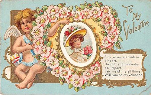 - Cupid Valentine Greeting, Lady in Heart Wreath Antique Postcard N3662