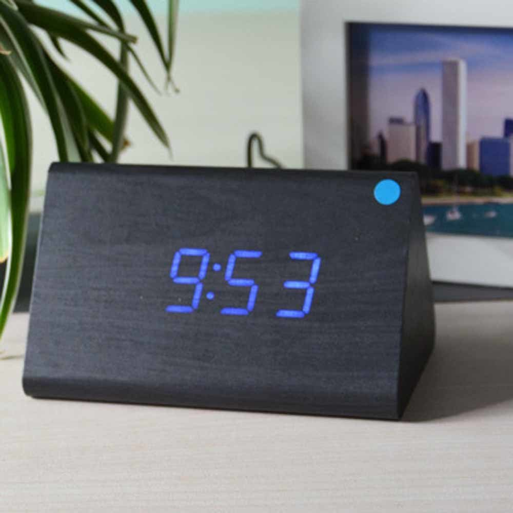 SPA Tool® USB Powered Mini Triangle - Wood LED Desktop Home Office Clock with Time Display and Voice Control(Black wood Blue LED)