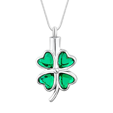 Stainless Steel Shamrock Cremation Pendant Urn Jewelry Holds Pet Ashes Human GRN