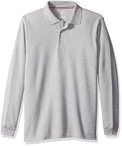 French Toast Big Boys' Long Sleeve Pique Polo, Heather Gray, XXL