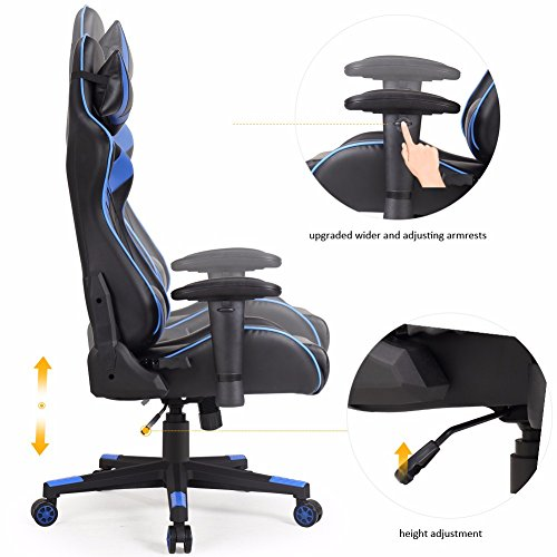 Valka Swivel High-back Leather Gaming Chair Racing Chair Recliner Blue Zhejiang Huaxia Bamboo and Wood Products Co., Ltd.
