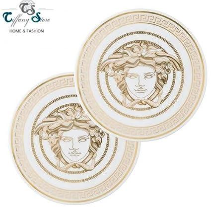 Versace posavasos de porcelana Set 2 piezas Diam. CM 9,5. Medusa Gala