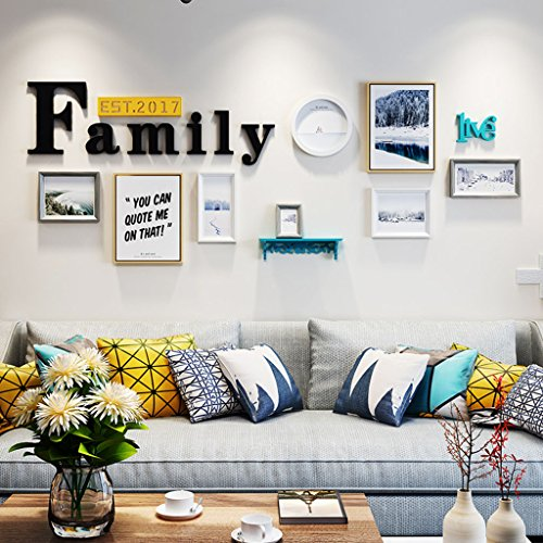 Home@Wall photo frame Modern Wood Photo Frame Sets Of 8 , Living Room Bedroom Sofa Background Hanging Paintings Aisle Corridor Photo Frame Combination ( Color : F , Size : 8frames/23386CM ) by ZGP