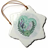 3dRose Beverly Turner Heart Design - Abstract Hearts, Flowers, Lace, Jewels, Green - 3 inch Snowflake Porcelain Ornament (orn_272667_1)