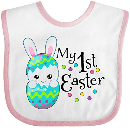 - Inktastic - My First Easter- bunny in an egg Baby Bib White/Pink 2f089
