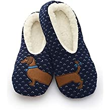 The Big Discount Sherpa Women's Blue Wiener Dog Slippers/Dachshund Slippers