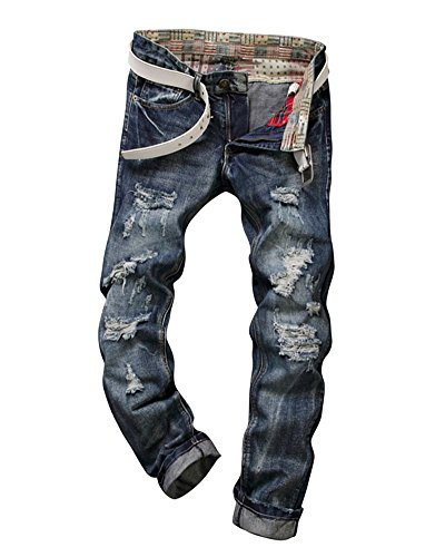 Homme Skinny Casual Jambe Denim Mengmiao Jeans Straight Pantalon Déchiré Droit Vintage Troué Biker Bleu RnqZdwnv