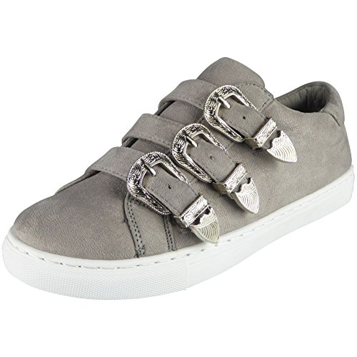 Size Sneakers Slip Grey Shoes On 8 Ladies Buckle Womens Trainers LoudLook Flat Pumps 3 Look Running New Loud 8Oq6PP