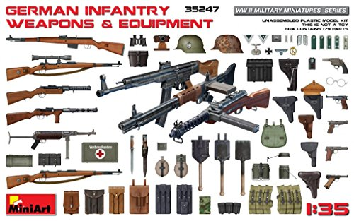 35 German Infantry Weapons - PLASTIC MODEL KIT GERMAN INFANTRY WEAPONS & EQUIPMENS WWII 1/35 MINIART 35247