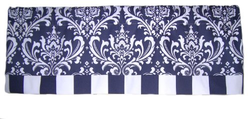 RLF Home Royal Banded Damask Straight Valance, Navy