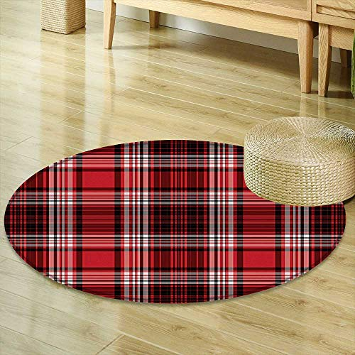 Mikihome Round Rugs for Bedroom Red and Black Ancient British Skirt Cloth Print Squares Abstract Bold Lines Art Print White and Ruby Circle Rugs for Living Room R-24 (Print Collection Abstract Skirt)