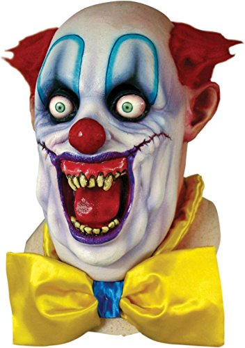 Scary Circus Costume Ideas (Rico The Psycho Killer Circus Clown Scary Latex Adult Halloween Costume Mask)