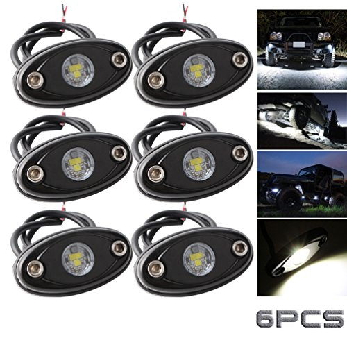 (LEDMIRCY LED Rock Lights White Kit for JEEP Off Road Truck Auto Car Boat ATV SUV Waterproof High Power Underbody Glow Neon Trail Rig Lights Underglow Lights Shockproof(Pack of 6,White))