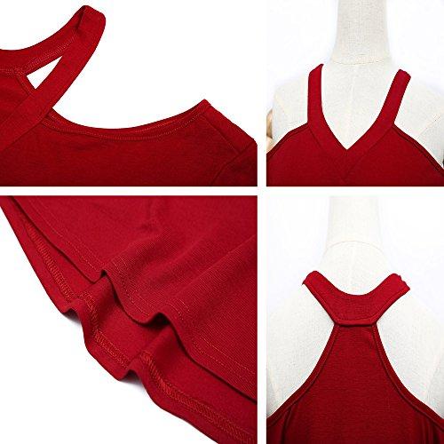 Shirts Blouses Dnude Haut Pin Rouge Sexy Unie Couleur paule Irregulier Up Vin Tops Fashion Longues T Femme t Chemisiers Manches Shirts Legendaryman qO80zw