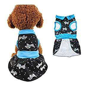 Chol & Vivi Dog Dress For Extra Small Size Dog Cat, Dog Dresses Shirts Fit Extra Small Medium Dog Girls, 2pcs Cotton Dresses For Dog Apparel Soft And Breathable, Black And Blue, Extra Small Size