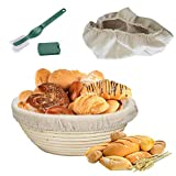 Round Bread Proofing Basket,OAMCEG 10' Banneton Proofing Basket & Bread Lame Set,Sourdough Proofing Basket Set with Cloth Liner