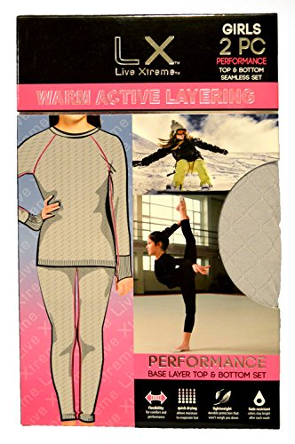 Live Xtreme LX Girl's 2 Pc. Warm Gray Quilted Long Underwear Set w/ Thumb Holes (M 8/10)