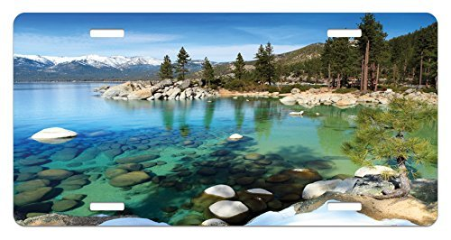 zaeshe3536658 Lake Tahoe License Plate, Scenic American Places Mountains with Snow Rocks in the Lake California Summer, High Gloss Aluminum Novelty Plate, 6 X 12 Inches, Multicolor by zaeshe3536658