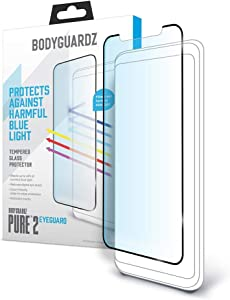 BodyGuardz - Pure 2 EyeGuard Glass Screen Protector Blue Light Edge-to-Edge Glass Protector for Apple iPhone - CASE Friendly (Apple iPhone 11 Pro Max)