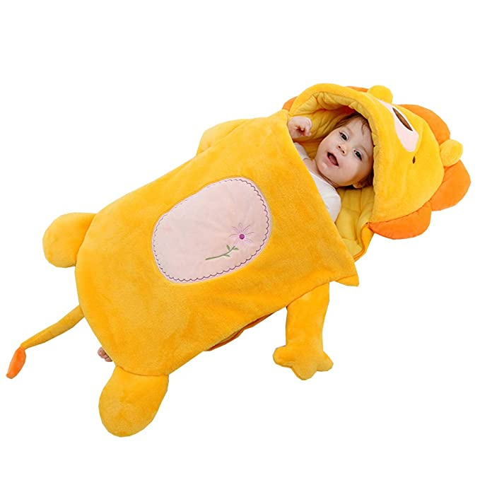 JSIHENA Saco Dormir Invierno Manga Larga Saco de Dormir con Engrosamiento Animal Forma del Saco de Dormir de Franela,Yellow: Amazon.es: Deportes y aire ...