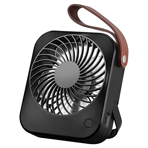OMORC Mini USB Desk Fan Rechargeable Portable Super Quiet with 55° Adjustable Angle, Table Cooling Fan for Office, Home, Study (Black)