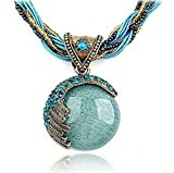 bestwishes2u Mother's Day Gift Fashion Bohemian Jewelry Statement Necklaces Women Rhinestone Gem Pendant Collar