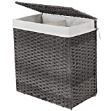 SONGMICS Handwoven Laundry Basket, 110L Synthetic Rattan Wicker Divided Clothes Hamper with Lid and Handles, Foldable, Removable Liner Bag, Stable...