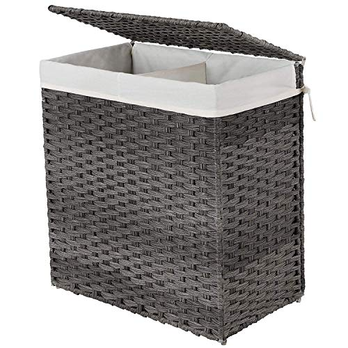 SONGMICS Handwoven Laundry Basket, 110L Synthetic Rattan Wicker Divided Clothes Hamper with Lid and Handles, Foldable, Removable Liner Bag, Stable Iron Frame, Gray ULCB52WG