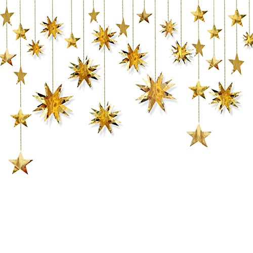 Gold Decorations Kit,Star Paper Garland,3D Stars Party Decor,Metallic Bunting Banner--Holiday Supplies,Birthday,Wedding,Baby Shower,Hanging Decorations for Nursery,Kids,Girls Room By PinkBlume(4 Set). by PinkBlume