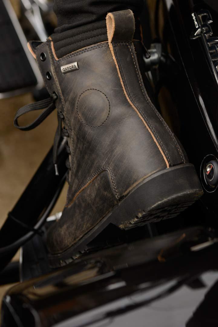 schwarz EU 37 Oxford Magdalen Damen Wasserfest Leder Motorrad Stiefel Schwarz