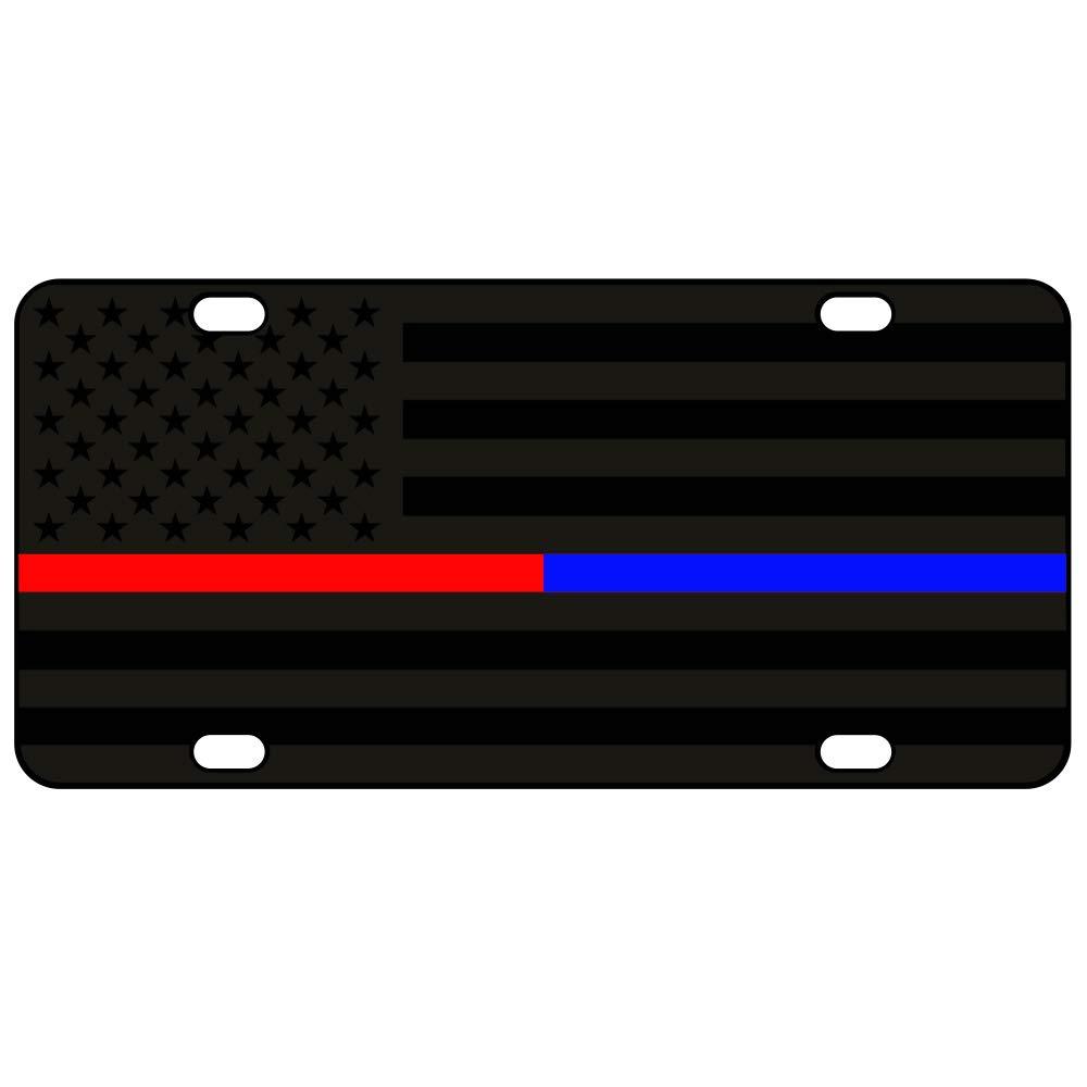 JASS GRAPHIX Thin Blue Line Thin Red Line American Flag License Plate Matte Black on 1//8 Black Aluminum Composite Heavy Duty Tactical Patriot USA Car Tag Jassgraphix