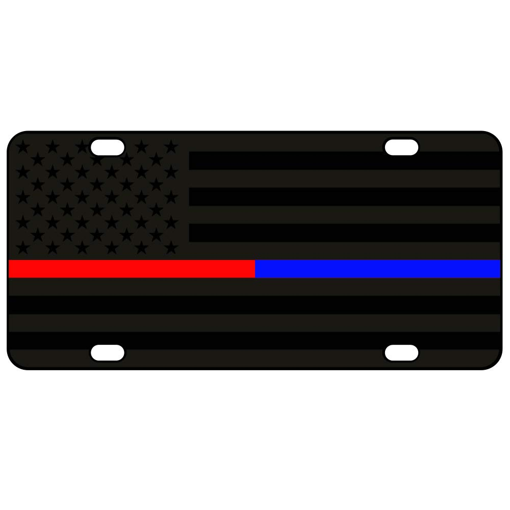 JASS GRAPHIX Thin Blue Line Thin Red Line American Flag License Plate Matte Black on 1/8'' Black Aluminum Composite Heavy Duty Tactical Patriot USA Car Tag