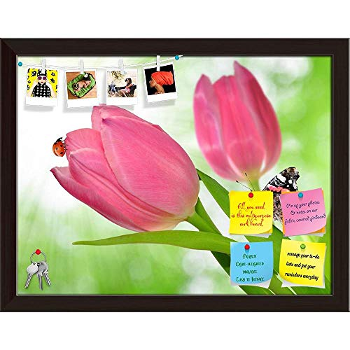 Artzfolio Tulip with Butterfly & Ladybug Printed Bulletin Board Notice Pin Board Cum Dark Brown Framed Painting 15.5 X ()