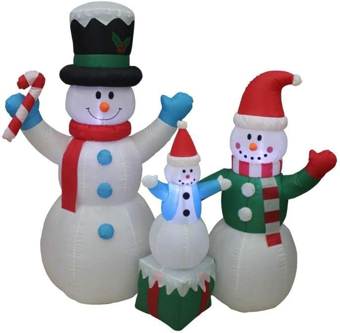 Impact Canopy Christmas Inflatable Decoration, Outdoor Holiday Lighted Snowman Family - Kid On Box, 5' Tall