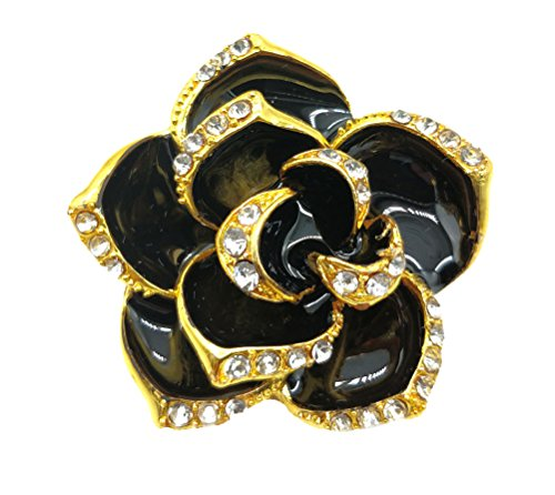 (Ahugehome Women Brooch Pin Rose Flower Camellia Inlay Crystal Vintage Style Dress Party Wedding (B Black Rose Flower Gold))