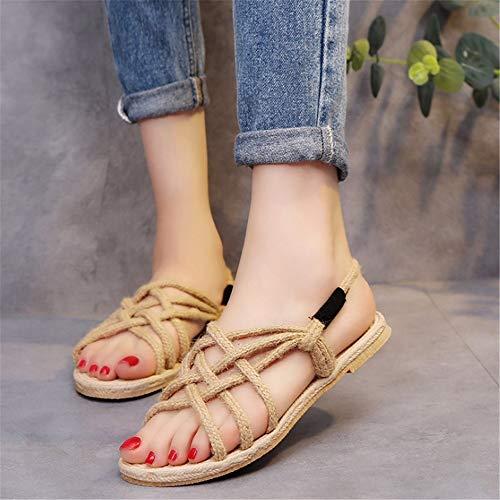 La Tejen Armadura Zapatillas A Beige Zapatos La Mano Las Romanas De De Transpirables Los Bohemias Las Zapatos Mujeres Sandalias De Sandalias De Las Guita q0OCq