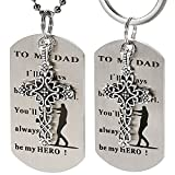 Dad Gift from Daughter - I'll Always Be Your Little Girl. You Will Always Be My Hero Necklace & Keychain for Daddy Grandpa Valentine's Day, Father's Day, Birthday, Christmas Gift
