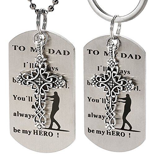 NBE Collection Dad Gift from Daughter - I'll Always Be Your Little Girl. You Will Always Be My Hero Necklace & Keychain for Daddy Grandpa Valentine's Day, Father's Day, Birthday, Christmas Gift from NBE Collection