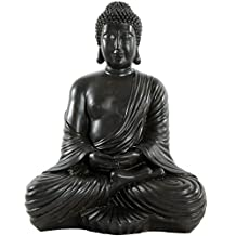 Oriental Furniture Extra Large Substantial Powerful Art Sculptures, 18-Inch Tall Black Resin Japanese Design Sitting Buddha Statue Figure by ORIENTAL FURNITURE