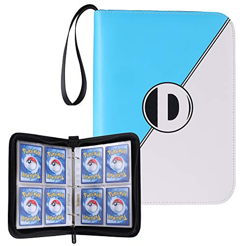 D DACCKIT Carrying Case Binder Compatible with Pokemon Card, Holds Up to 400 Cards - Trading Cards Collectors Album with 50 Premium 4-Pocket Pages (Blue White)