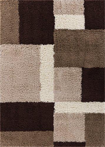 Beige Modern Rug - Well Woven Madison Shag Cubes Beige/Brown Modern Area Rug 5' X 7'2''